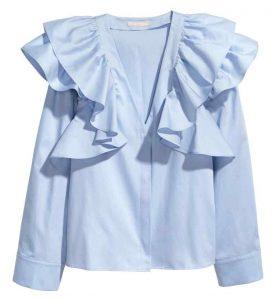 niebieska bluzka z falbankami zara