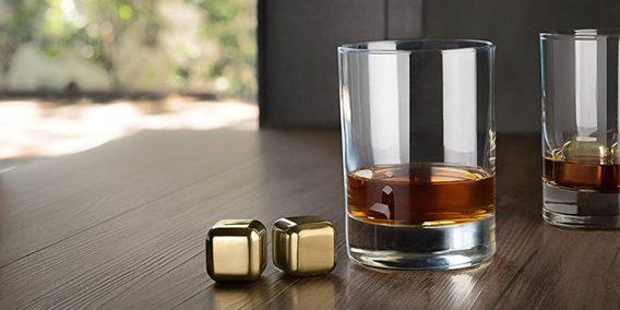 złote kostki do drinków